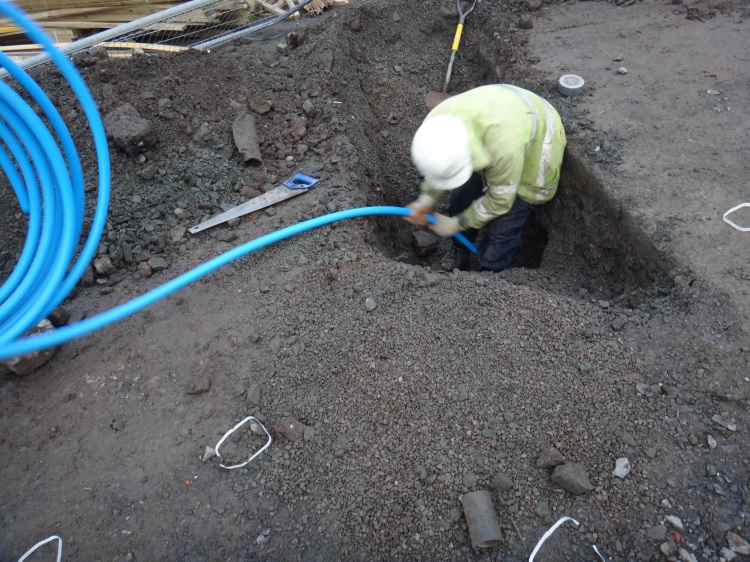 Our mains water pipe being installed